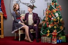 Portret van een man en een vrouw dichtbij de Kerstboom Stock Fotografie