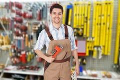 Portret van een mannelijke loodgieter stock foto