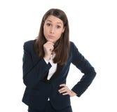 Portret van een meespelende bedrijfsvrouw die op wit wordt geïsoleerd. Royalty-vrije Stock Fotografie
