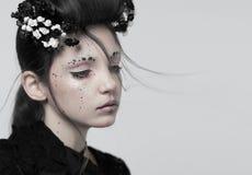Portret van een meisje, creatieve make-up stock afbeelding