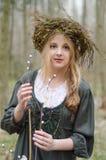 Portret van een meisje in een volks middeleeuwse stijl met wilgentak stock afbeelding