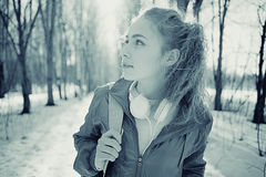 Portret van een meisje in koude tonen Stock Afbeelding