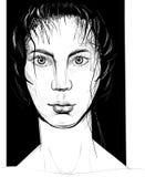 Portret van een meisje Manierillustratie in een schetsmatige stijl wordt gecreeerd die Stock Afbeelding