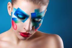 Portret van een meisje met creatieve samenstelling stock fotografie