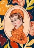 Portret van een meisje met de herfstbladeren dat wordt verfraaid Stock Foto