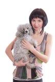 Portret van een meisje met een hond Stock Foto's