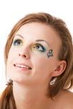 Portret van een meisje met kleurrijke ogen Stock Foto