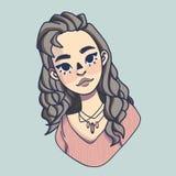 Portret van een meisje met lang haar in een trui vector illustratie