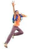 Portret van een meisje met rugzak het lopen stock fotografie