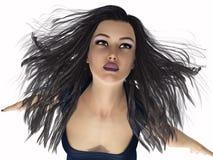 Portret van een meisje op witte achtergrond wordt geïsoleerd die 3D Illustratie Royalty-vrije Stock Foto's