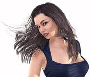 Portret van een meisje op witte achtergrond wordt geïsoleerd die 3D Illustratie Stock Fotografie