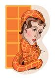 Portret van een meisje in sjaal Stock Afbeeldingen