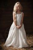Portret van een meisje in witte sundress op het hooi in de schuur Royalty-vrije Stock Fotografie