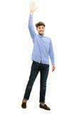 Portret van een mens die zijn hand golven Stock Foto's