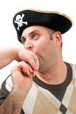 Portret van een mens in een piraathoed royalty-vrije stock fotografie