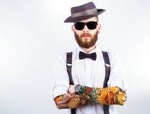 Portret van een modieuze hipster royalty-vrije stock afbeeldingen