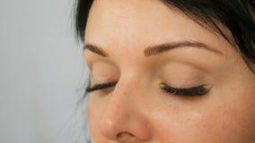 Portret van een mooi blauw-eyed vrouwenmodel met lang zwart haar dat make-up en wenkbrauw van het avond de de bruine oog doet stock videobeelden