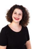 Portret van een mooi curvy meisje met rode lippen royalty-vrije stock foto