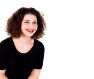 Portret van een mooi curvy meisje met rode lippen stock fotografie