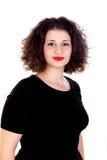 Portret van een mooi curvy meisje met rode lippen stock foto's