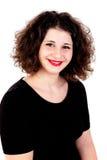 Portret van een mooi curvy meisje met rode lippen stock afbeelding