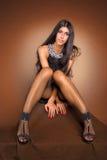 Portret van een mooi donkerbruin meisje Stock Afbeeldingen