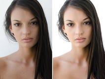 Portret van een mooi donkerbruin meisje before and after het retoucheren met photoshop stock fotografie