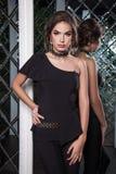 Portret van een mooi jong meisje gekleed in zwarte op een backgro Royalty-vrije Stock Afbeelding
