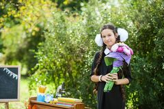 Portret van een mooi jong schoolmeisje met rode appel op boeken in een feestelijke eenvormige school Stock Foto's