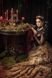 Portret van een mooi meisje in de kroon Stock Foto's