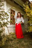 Portret van een mooi meisje in het nationale Slavische kostuum stock afbeeldingen