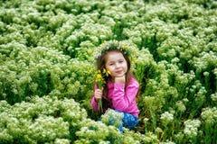 Portret van een mooi meisje in een kroon van madeliefjes stock foto