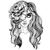 Portret van een mooi meisje met een pion in haar haar - een art. van de fantasiestijl Royalty-vrije Stock Fotografie