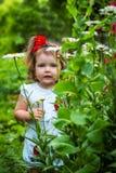 Portret van een mooi meisje onder de bloemen royalty-vrije stock foto's