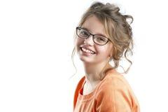 Portret van een mooi meisje op een witte achtergrond Stock Foto's