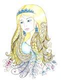 Portret van een mooi meisje in zentanglestijl Stock Afbeelding