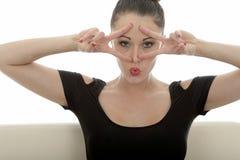 Portret van een Mooie Aantrekkelijke Jonge Kaukasische Vrouw Relaxin Stock Foto's