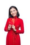 Portret van een mooie Aziatische vrouw op traditionele festivalkosten Stock Foto