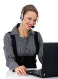 Portret van een mooie bedrijfsvrouw die werkt aan stock afbeeldingen