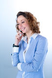 Portret van een mooie bedrijfsvrouw op licht backg Stock Afbeelding