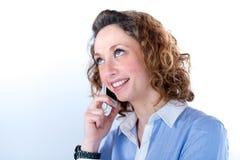 Portret van een mooie bedrijfsvrouw op licht backg Stock Afbeeldingen