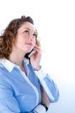 Portret van een mooie bedrijfsvrouw op licht backg Stock Foto's