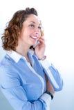 Portret van een mooie bedrijfsvrouw op licht backg Stock Fotografie