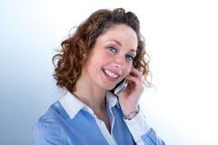 Portret van een mooie bedrijfsvrouw op licht backg Royalty-vrije Stock Afbeelding