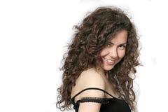Portret van een mooie jonge donkerbruine vrouw Royalty-vrije Stock Foto's