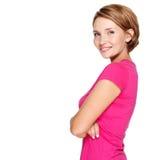 Portret van een mooie jonge volwassen witte gelukkige vrouw Stock Afbeeldingen