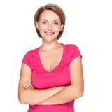 Portret van een mooie jonge volwassen witte gelukkige vrouw Stock Foto