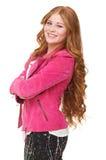 De Jonge Vrouw van Smilng in Roze Jasje Royalty-vrije Stock Afbeeldingen