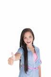 Jonge vrouw die o.k. tonen royalty-vrije stock afbeeldingen