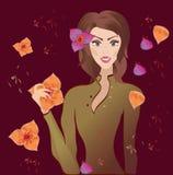 Portret van een mooie jonge vrouw met bloemen. Vectorillustratie. Bloemenachtergrond Stock Afbeelding